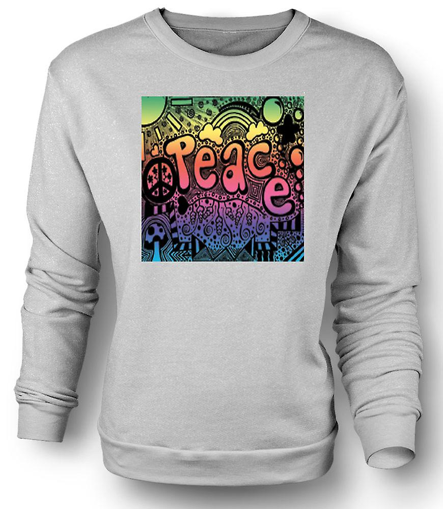 Mens Sweatshirt Peace Hippy Psychedelic Design