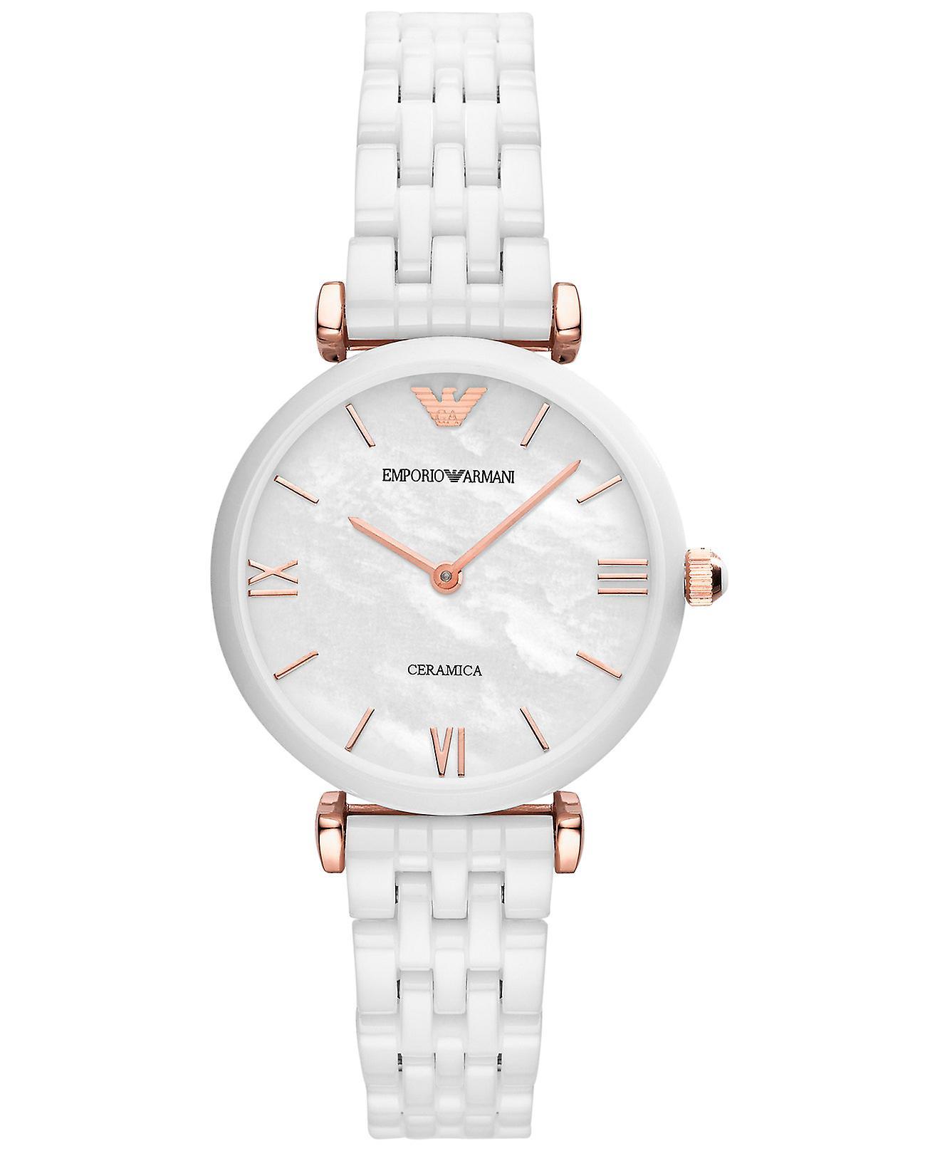 Emporio Arhommei Ar1486 Bracelet en céramique blanche Montre Dames