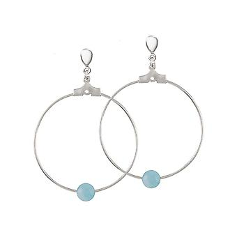 Eternal Collection Stylistic Blue Agate Silver Tone Drop Hoop Clip On Earrings