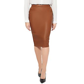 KRISP 2 Pocket PU Pencil Skirt