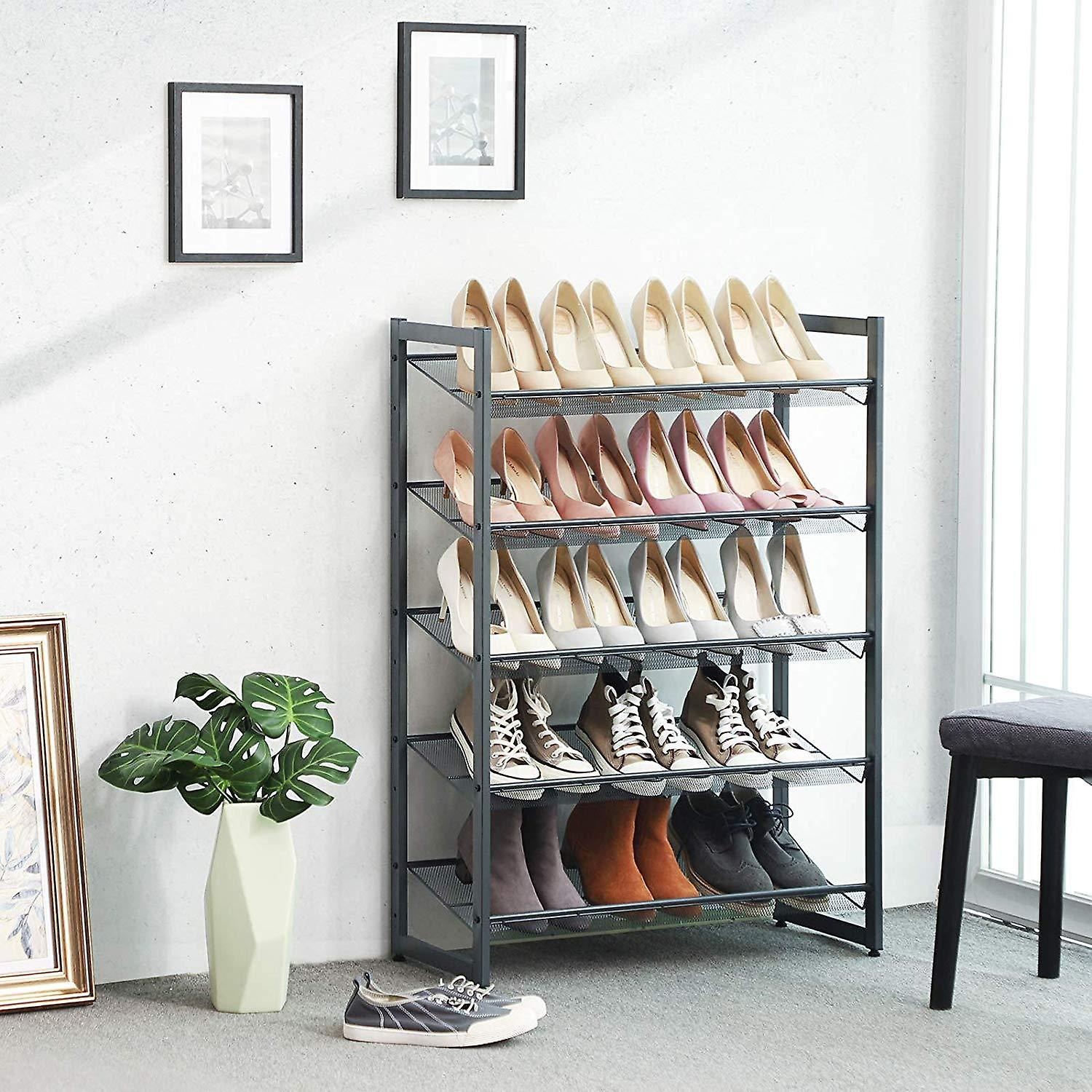 Shoe rack with 5 grilles-metal-grey