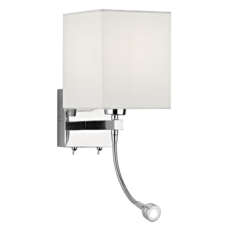Tatton E27 & 1w Led Wall Lamp Complete With blanc Shade