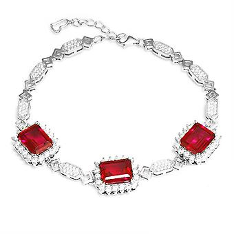 925 Sterling Silver Emerald Cut Created Ruby Bracelet, 20cm