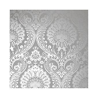 Arthouse Luxe Damask Pattern Floral Metallic Textured Fabric Effect Wallpaper 906609