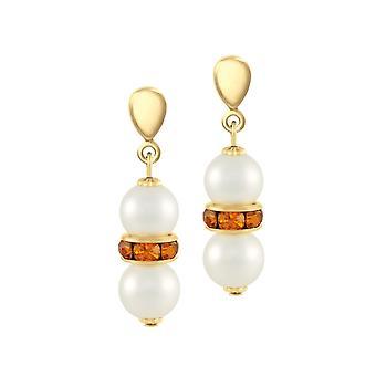 Eternal Collection Kaleidoscope Topaz Crystal Shell Pearl Gold Tone Drop Pierced Earrings