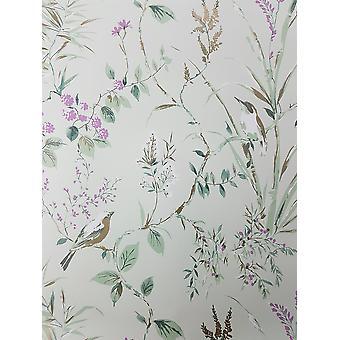 Blomster fugle tapet Teal blomme guld metallisk blomst Shimmer fine decor Mariko