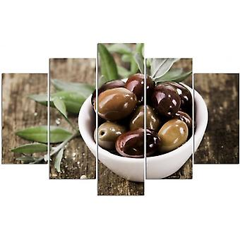 Five Part Picture On Canvas, Pentaptych, Type A, Fresh Olives
