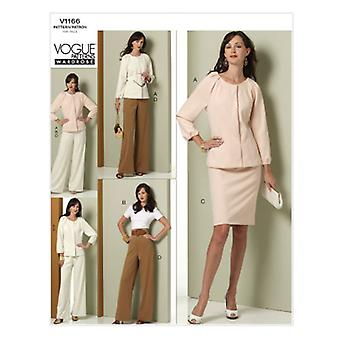 Misses' Jacket, Top, Skirt And Pants  14  16  18  20 Pattern V1166  Ee0