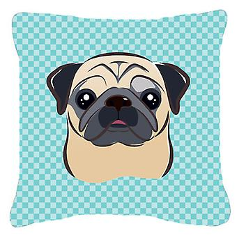 Checkerboard Blue Fawn Pug Canvas Fabric Decorative Pillow BB1200PW1414