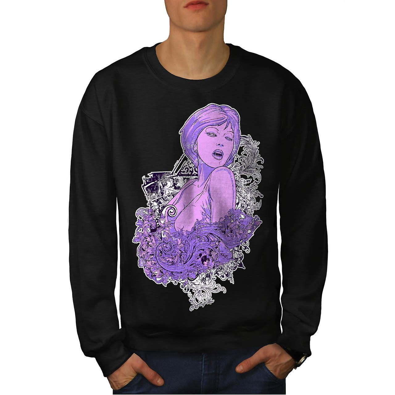 Sexy Girl Art Fashion Men Black Sweatshirt | Wellcoda