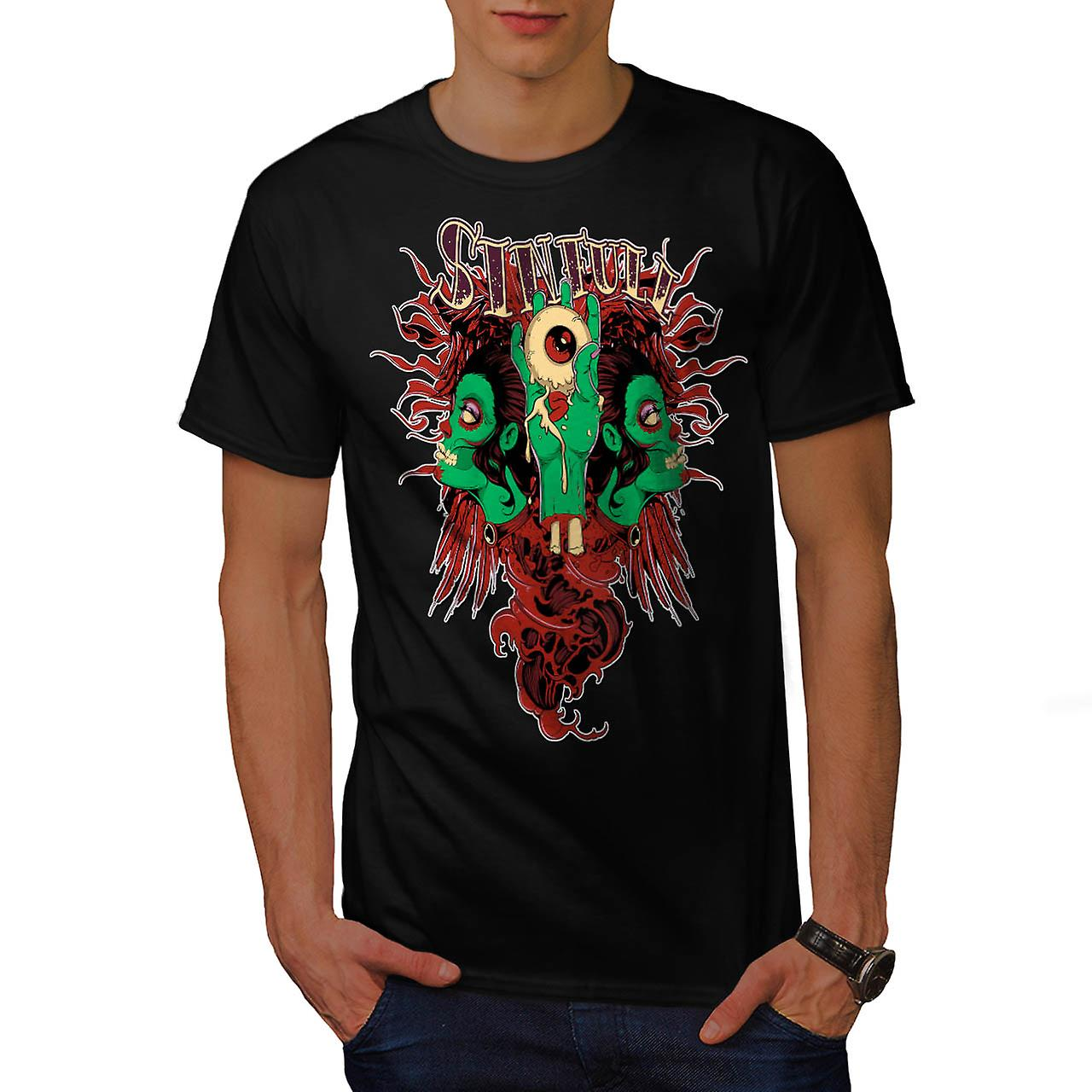 Sinful Monster Head Devil Eye Men Black T-shirt | Wellcoda