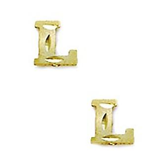 14k Yellow Gold Initial L Stamping Children Earrings - Measures 6x6mm