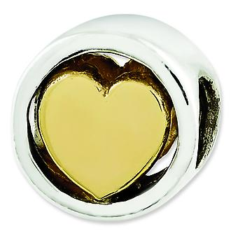 Sterling Silver Reflections Gold-plated Heart Bead Charm
