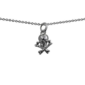 Silver 12x10mm Skull and Crossbones Pendant with a rolo Chain 24 inches