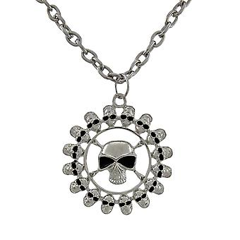 Chrome Plated Ring of Skulls Pendant and Necklace