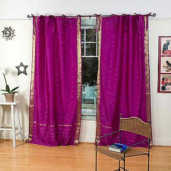 Violet Red  Tie Top  Sheer Sari Curtain / Drape / Panel  - Piece