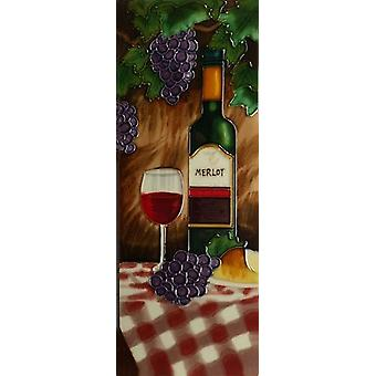 YH-Arts Ceramic Wall Art, Merlot Wine 6 x 16