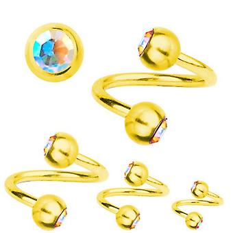 Spiral Twist Piercing GoldPlated Titanium 1,2,SWAROVSKI ELEMENTS Aurora Borealis | 6-12 mm