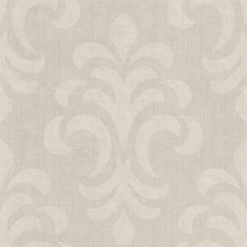 Damask Wallpaper Modern Kenneth James Paste The Wall Easy To Hang Beige