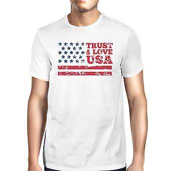 Trust & Love USA American Flag Shirt Mens White Round Neck Tshirt