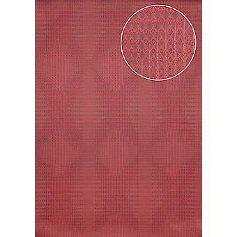 Graphic wallpaper Atlas ICO-5074-5 non-woven wallpaper smooth with geometric shapes and metal accents Red Ruby Red purple violet 7,035 m2