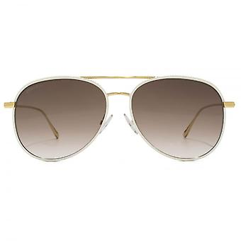 Jimmy Choo Reto Pilot Sunglasses In White Gold