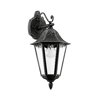 Eglo Navedo 1 Light Outdoor Wall Light Black/Silver IP44