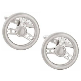 Zennor Steering Wheel Cufflinks - Silver