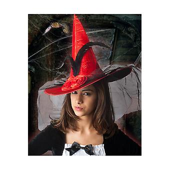 Halloween and horror Women Witch hat deluxe with veil red
