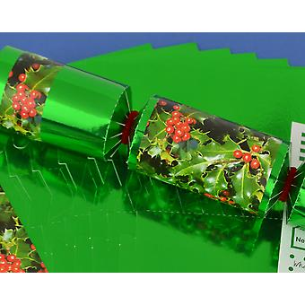 8 Green Foil Holly & Berries Make & Fill Your Own Christmas Crackers Kit