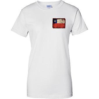 Chile Grunge Grunge efecto bandera - diseño de pecho de las señoras camiseta