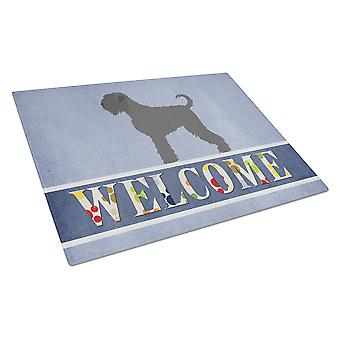 Black Russian Terrier Welcome Glass Cutting Board Large