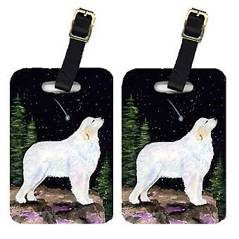 Carolines Treasures  SS8471BT Starry Night Great Pyrenees Luggage Tags Pair of 2