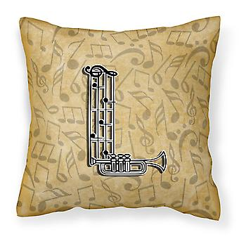 Letter L Musical Instrument Alphabet Canvas Fabric Decorative Pillow