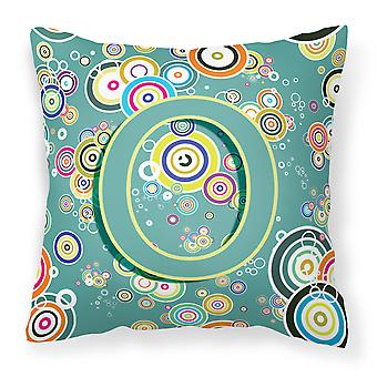 Letter O Circle Circle Teal Initial Alphabet Canvas Fabric Decorative Pillow