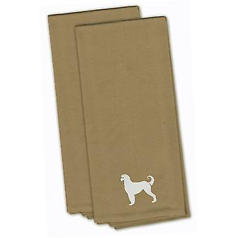 Afghan Hound Tan Embroidered Kitchen Towel Set of 2