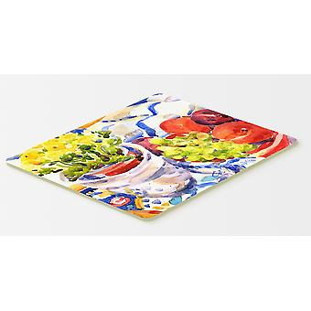 Apples, Plums and Grapes with Flowers  Kitchen or Bath Mat 20x30