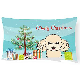 Christmas Tree and Buff Poodle Fabric Decorative Pillow