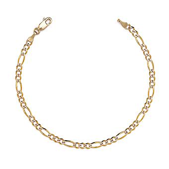 10k Two-Tone Gold Figaro Chian Bracelet and Anklet with White Pave, 0.19 Inch (4.7mm)