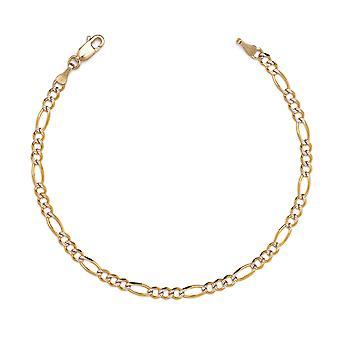 10 k tofarvet guld Figaro Chian armbånd og Ankelkæde med hvid bane, 0,1 tommer (2,5 mm)