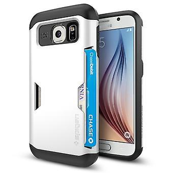 Spigen Samsung Galaxy S6 Slim rustning CS kort skyderen serie - skinnende hvid