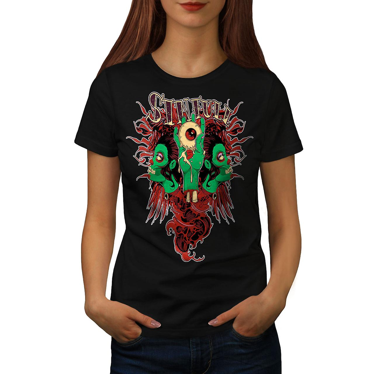 Horror Living Dead Zombie Women Black T-shirt | Wellcoda