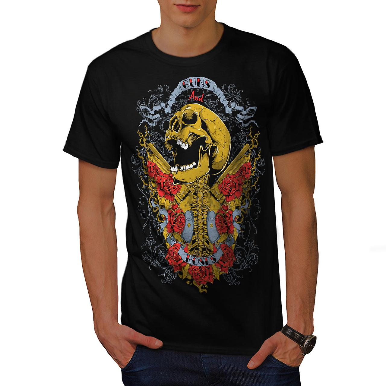 Guns And Roses Skull Men Black T-shirt | Wellcoda