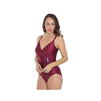 Seaspray SY007052 Women's Wine Red Solid Colour Costume One Piece Swimsuit