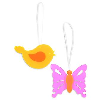 Set of Two Acrylic Butterfly & Bird Hanging Suncatcher Ornaments