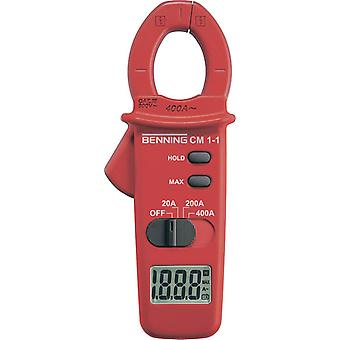 Clamp meter Digital Benning CM 1-1 Calibrated to: Manufacturer's standards (no certificate) CAT III 600 V Display (coun