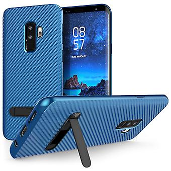Samsung Galaxy S9 Plus Carbon Fibre TPU Gel Case With Stand - Blue
