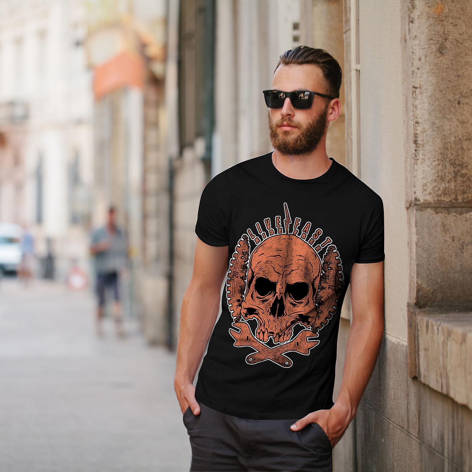 Live Fast Biker Skull Men BlackT-shirt   Wellcoda
