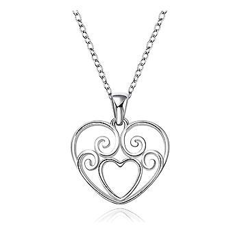 Hjärta hängande halsband silverpläterade smycken