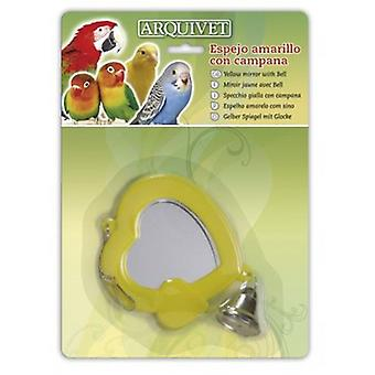 Arquivet Yellow Mirror With Bell 10,5X9X1 Cm (Birds , Bird Cage Accessories , Mirrors)